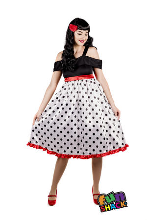 Womens Ladies Adult 50S Polka Dot Vintage Fancy Dress Costume Outfit Uk 8-26