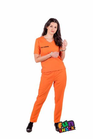 Womens Ladies Orange Convict Prisoner Boiler Suit Fancy Dress Costume Outfit