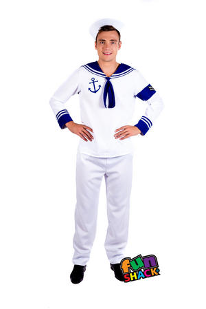 Mens Male Adults Sailor Marine Navy Stag Do Fancy Dress Costume Outfit