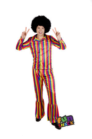Mens Male Adults Rainbow Disco Suit 70S Retro Hippy Fancy Dress Costume Outfit