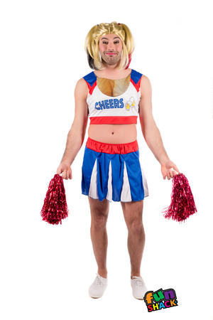 Mens Male Adults Cheerleader Stag Do Party Idea Fancy Dress  Costume Outfit