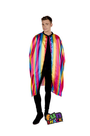 Rainbow Cape Robe Gay Ride Adult Carinival Fancy Dress Costume Outfit