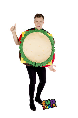 Adult Novelty Cheese Burger Fancy Dress Costume Outfit Stag Do Hen Party