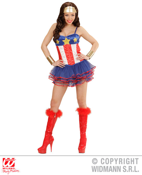 Womens Ladies Super Hero Girl Fancy Dress Costume Outfit M