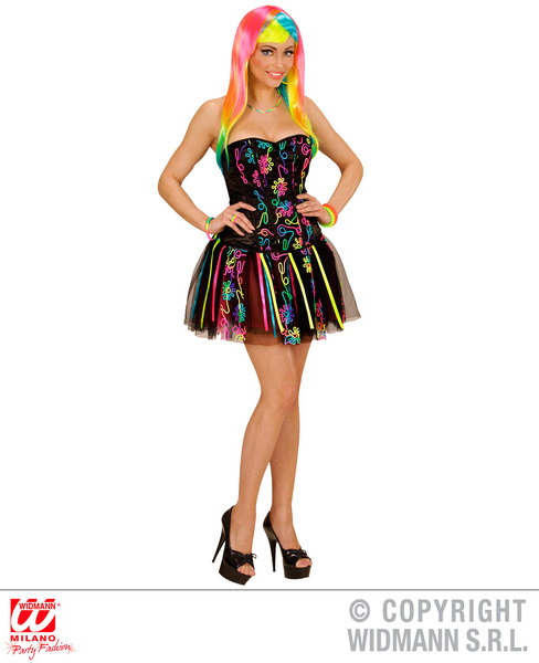 Womens Ladies Neon Rainbow Fantasy Girl Fancy Dress Costume Outfit M