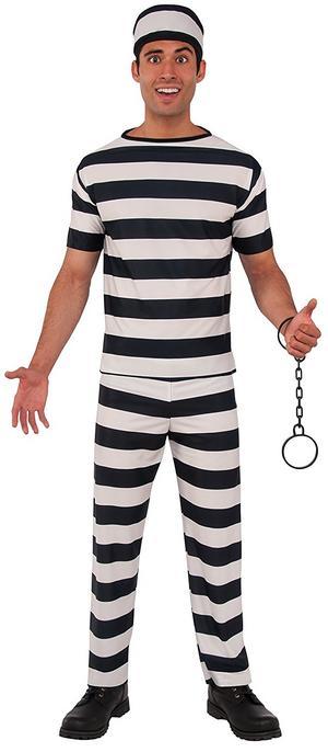 Mens Prisoner Convict Fancy Dress Costume Jail Prison Halloween Outfit Adult