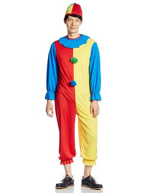Mens Clown Fancy Dress Costume Creepy Circus Halloween Outfit Adult