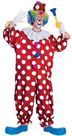 Mens Dotty Clown Fancy Dress Costume Creepy Circus Halloween Outfit Adult