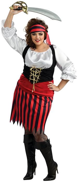 Ladies Pirate Girl Fancy Dress Costume Buccaneer Halloween Outfit Adult