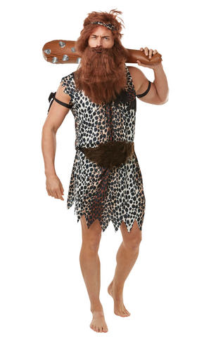 Mens Caveman Fancy Dress Costume Stoneage Jungle Tarzan Outfit Adult