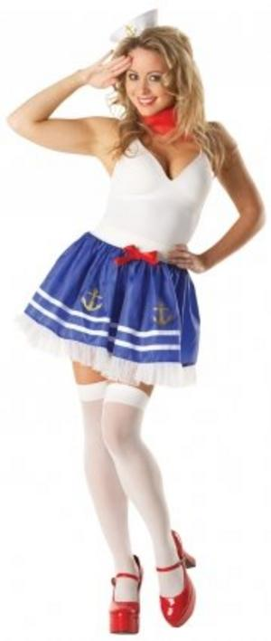 Ladies Sailor Girl Fancy Dress Costume and Accessory Set Nautical Outfit