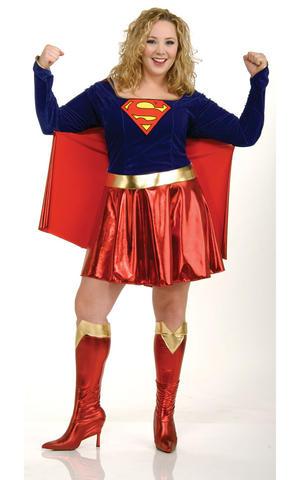 Ladies Womens Supergirl Fancy Dress Costume Comic Superhero Outfit Adult