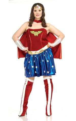 Ladies Womens Wonder Woman Fancy Dress Costume Superhero Outfit Adult