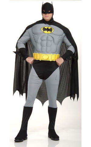 Batman Muscle Chest Fancy Dress Costume DC Comic Superhero Outfit Adult