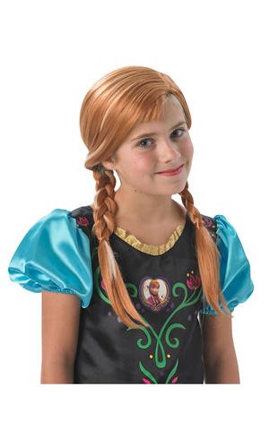 Childs Anna Wig Disney Frozen Princess Fancy Dress Costume Accessory
