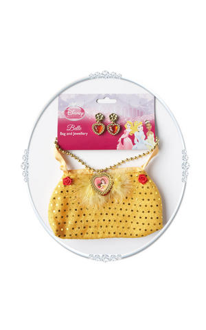 Belle Bag & Jewellery Beauty & the Beast Princess Fancy Dress Costume Accessory