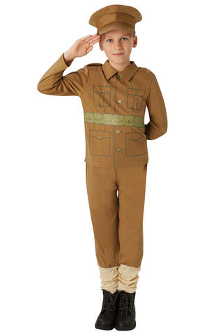 Child WW1 Soldier Costume Boys Army Book Week Day Fancy Dress Outfit Kids