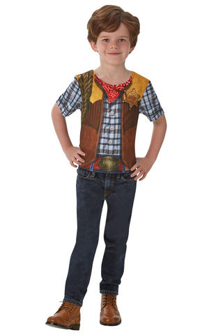 Kids Boys Childs Cowboy T-Shirt Fancy Dress Costume Outfit Western Party