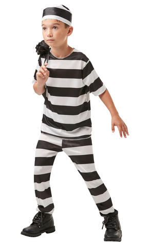 Kids Boys Childs Prisoner Fancy Dress Costume Outfit Rubies Convict Halloween