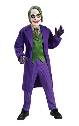 Boys Childs Deluxe The Joker Fancy Dress Costume Outfit Dark Knight Halloween