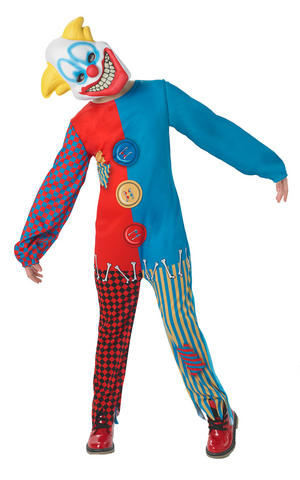 Kids Childs Scary Clown Fancy Dress Costume Outfit Circus Horror Halloween