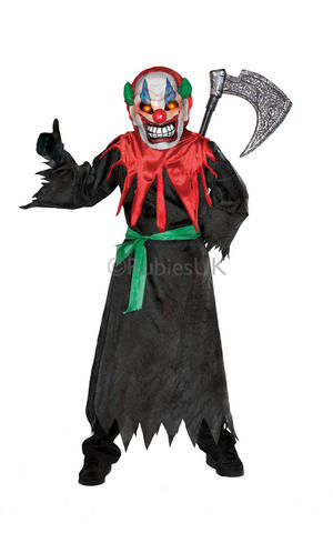 Kids Childs Crazy Clown Light Up Eyes Fancy Dress Costume Outfit Halloween