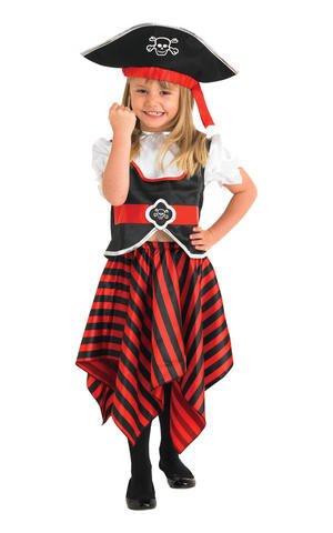 Girls Kids Childs Pirate Girl Fancy Dress Costume Outfit Buccaneer Caribbean
