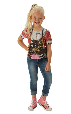 Girls Kids Childs Pirate Girl T-Shirt Fancy Dress Costume Outfit Halloween