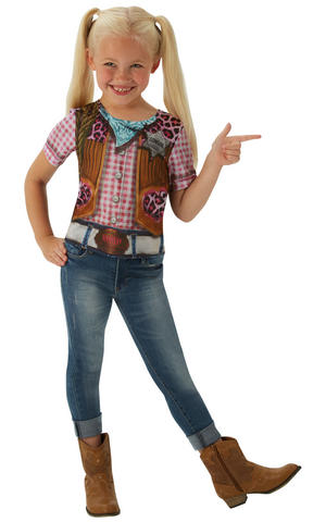 Girls Kids Childs Cowgirl T-Shirt Fancy Dress Costume Outfit Rubies Wester Party