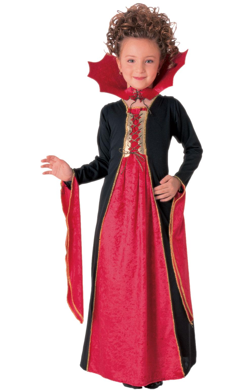 Childrens Gothic Vampiress Fancy Dress Costume Girls Halloween Childs Outfit M