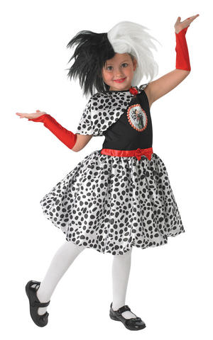 Girls Kids Childs Cruella De Ville Fancy Dress Costume Outfit 101 Dalmatians