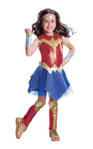 Girls Kids Childs Deluxe Wonder Woman Fancy Dress Costume Outfit Book Week