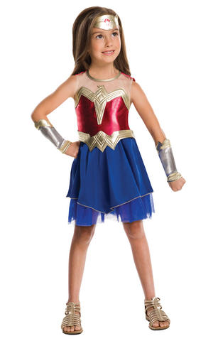 Girls Kids Childs Wonder Woman Fancy Dress Costume Outfit Halloween Superhero