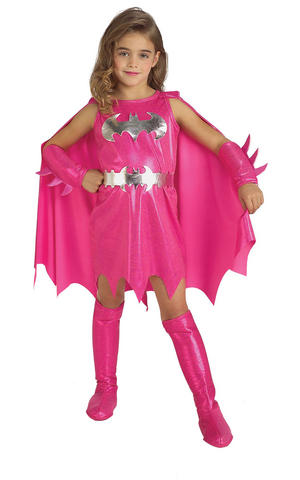 Girls Kids Childs Pink Batgirl Fancy Dress Costume Outfit Halloween Superhero