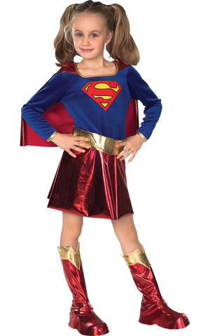 Girls Kids Childs Deluxe Supergirl Fancy Dress Costume Outfit Comic Superhero