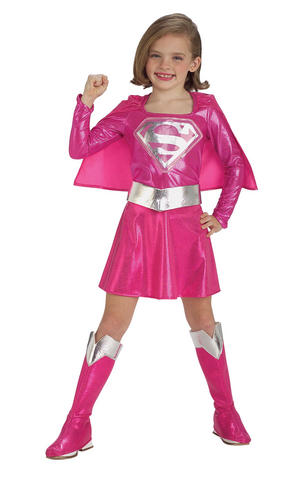 Girls Kids Childs Pink Supergirl Fancy Dress Costume Outfit Rubies Superhero
