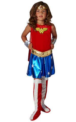 Girls Kids Childs Deluxe Wonder Woman Fancy Dress Costume Outfit Comic Superhero