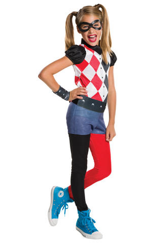 Girls Kids Childs Harley Quinn Fancy Dress Costume Outfit Halloween Book Week