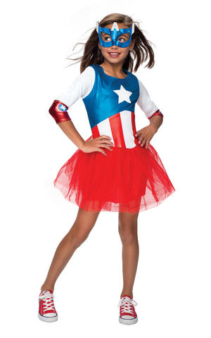 Girls Kids Childs Metallic Captain America Fancy Dress Costume Outfit Rubies