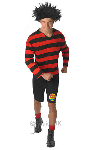 Mens Adult Dennis The Menace Fancy Dress Costume Outfit Beano Book Week