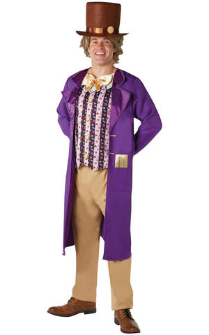 Mens Adult Willy Wonka Fancy Dress Costume Outfit Rubies Book week official