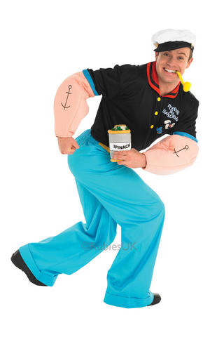 Mens Adult Popeye Fancy Dress Costume Outfit Sailor Man Cartoon 80s TV