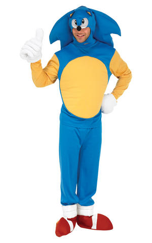 Mens Adult Sonic The HedgeHog Fancy Dress Costume Outfit Rubies Video Game