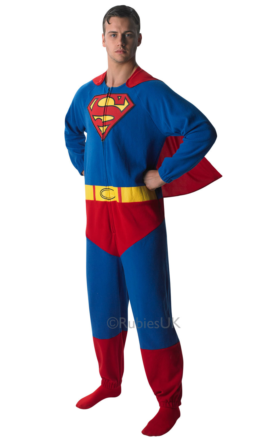 Mens Adult Superman Onesie Fancy Dress Costume Comic Superhero Outfit Official