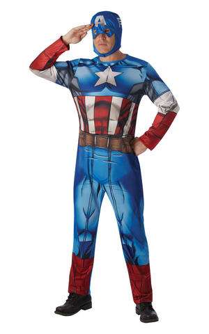 Mens Adult Classic Captain America Fancy Dress Costume Outfit Rubies Official