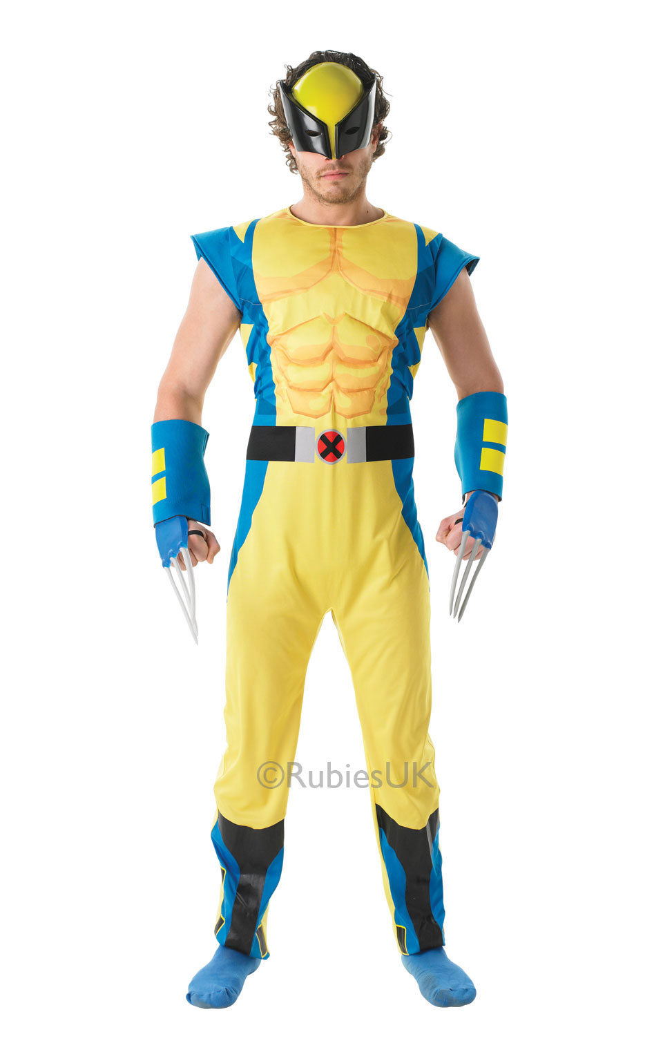 Mens Adult Deluxe Wolverine Fancy Dress Costume Outfit Rubies Avengers Marvel