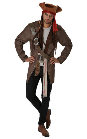 Mens Adult Jack Sparrow Fancy Dress Costume Outfit Pirates of the caribbean