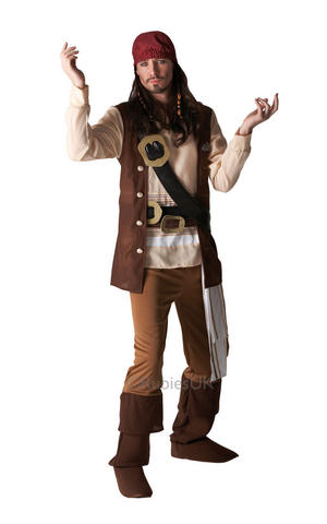Mens Adult Captain Jack Sparrow Fancy Dress Costume Outfit Caribbean Pirate