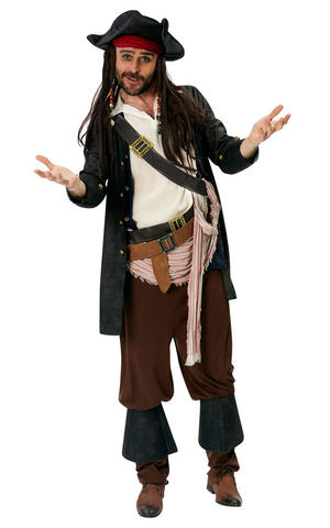 Mens Adult Deluxe Jack Sparrow Fancy Dress Costume Outfit Halloween Pirate