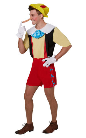 Mens Adult Pinocchio Fancy Dress Costume Outfit Rubies Disney Puppet Official
